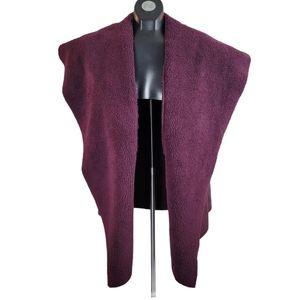 NORDSTROM SUSINA Vest Red Teddy Coat Faux Fur